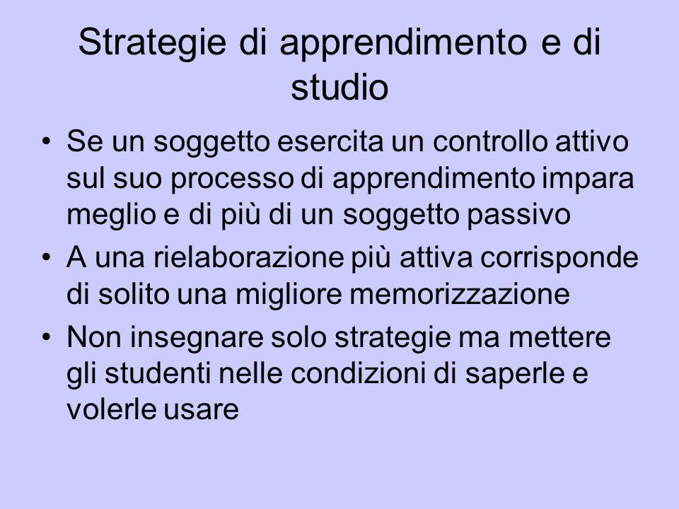 Strategie di apprendimento e di studio Se un soggetto esercita un controllo attivo sul suo processo di apprendimento impara meglio e di più di un sogg