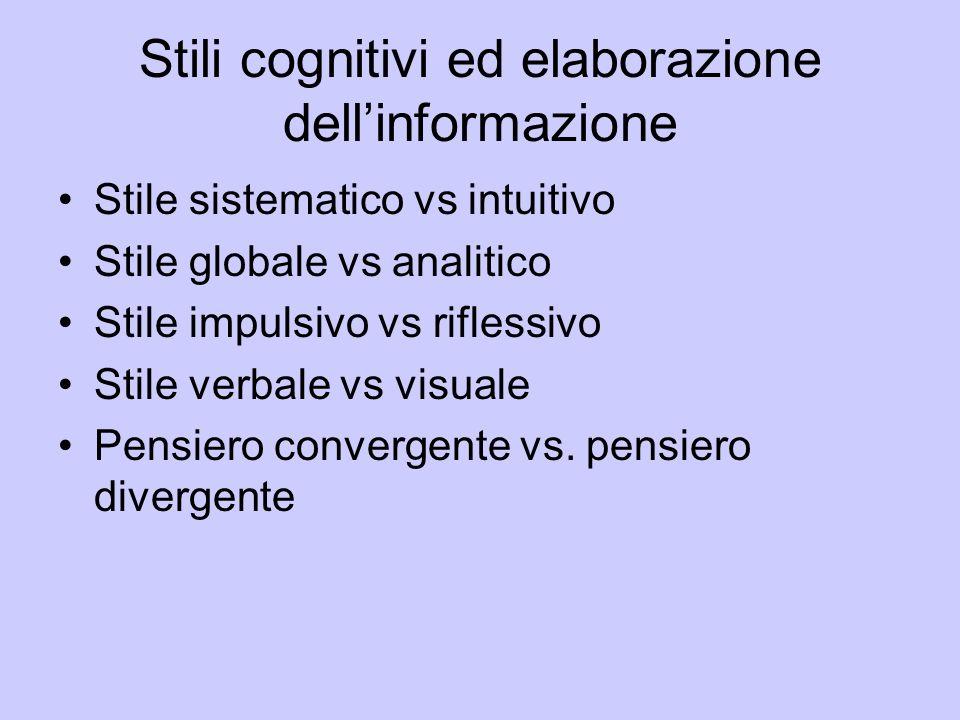Stili cognitivi ed elaborazione dellinformazione Stile sistematico vs intuitivo Stile globale vs analitico Stile impulsivo vs riflessivo Stile verbale
