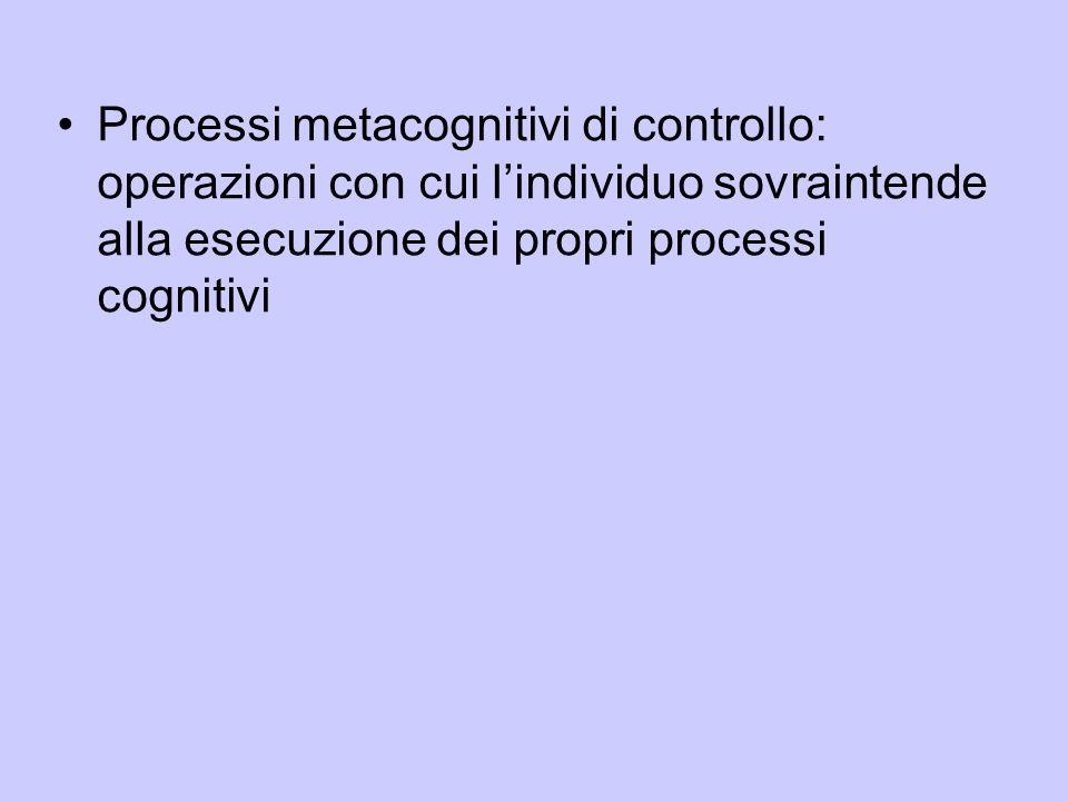 Processi metacognitivi di controllo: operazioni con cui lindividuo sovraintende alla esecuzione dei propri processi cognitivi