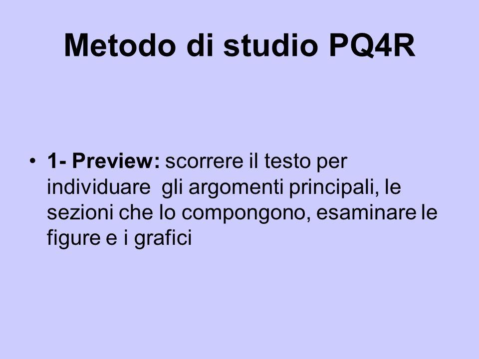 Metodo di studio PQ4R 1- Preview: scorrere il testo per individuare gli argomenti principali, le sezioni che lo compongono, esaminare le figure e i gr