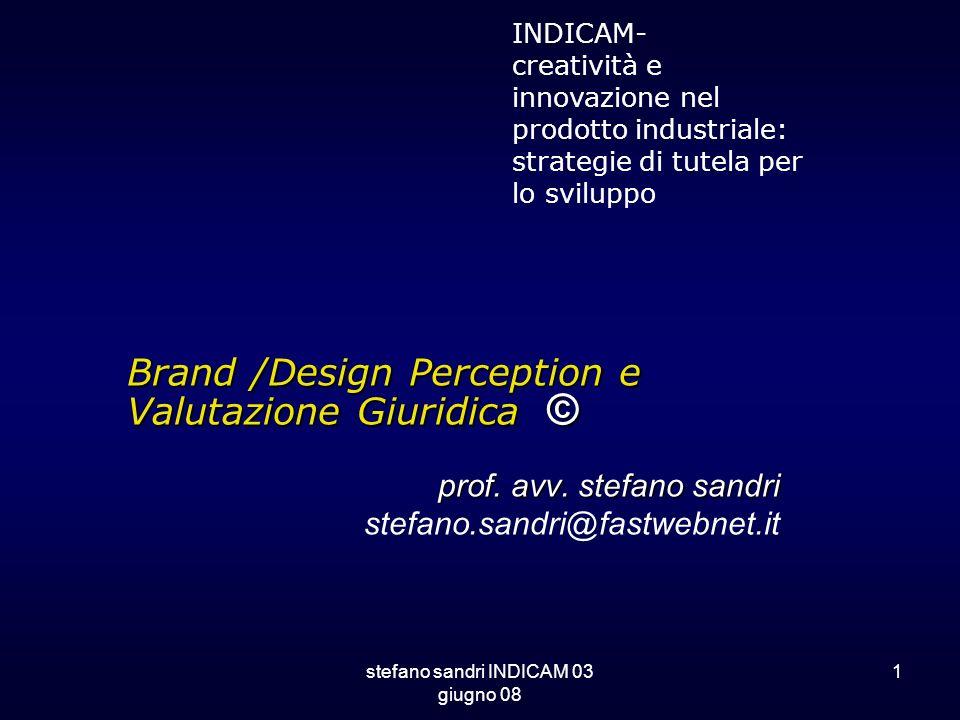 stefano sandri INDICAM 03 giugno 08 1 Brand /Design Perception e Valutazione Giuridica © prof. avv. stefano sandri stefano.sandri@fastwebnet.it INDICA