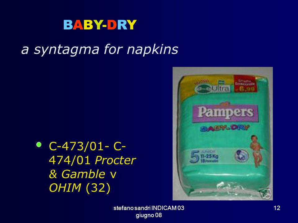 stefano sandri INDICAM 03 giugno 08 12 BABY-DRY a syntagma for napkins C-473/01- C- 474/01 Procter & Gamble v OHIM (32)