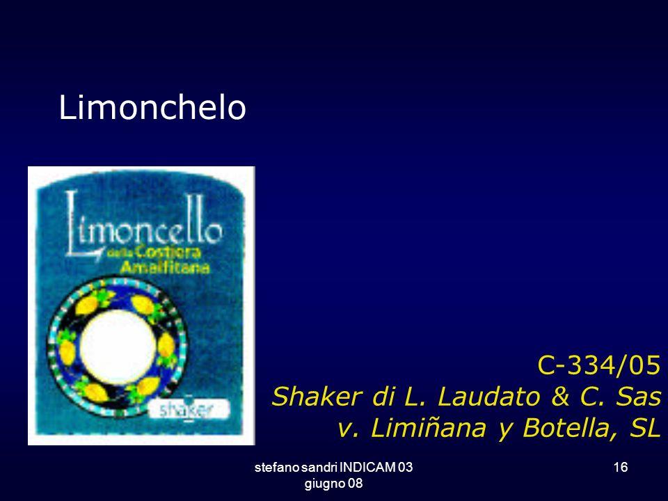 stefano sandri INDICAM 03 giugno 08 16 C-334/05 Shaker di L. Laudato & C. Sas v. Limiñana y Botella, SL Limonchelo