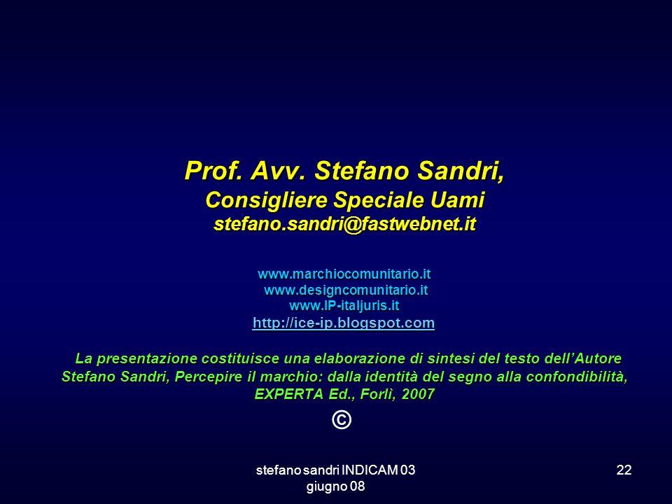 stefano sandri INDICAM 03 giugno 08 22 Prof. Avv. Stefano Sandri, Consigliere Speciale Uami stefano.sandri@fastwebnet.it www.marchiocomunitario.it www
