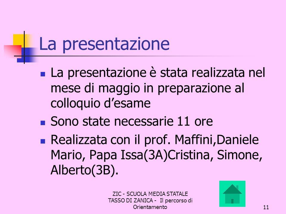 ZIC - SCUOLA MEDIA STATALE TASSO DI ZANICA - Il percorso di Orientamento11 La presentazione La presentazione è stata realizzata nel mese di maggio in