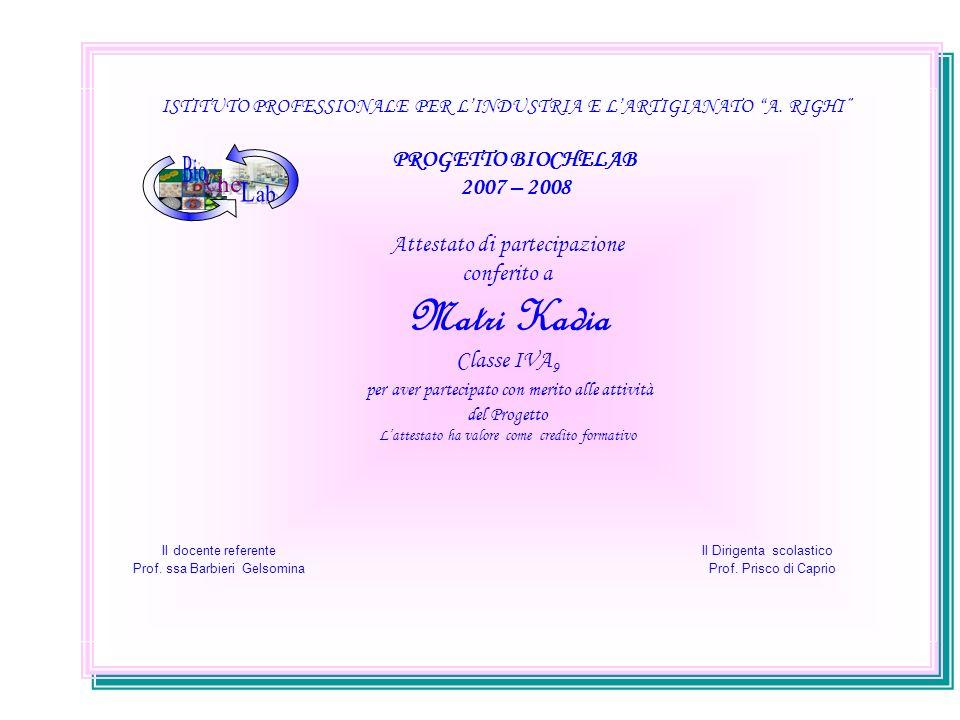 ISTITUTO PROFESSIONALE PER LINDUSTRIA E LARTIGIANATO A. RIGHI PROGETTO BIOCHELAB 2007 – 2008 Attestato di partecipazione conferito a Matri Kadia Class