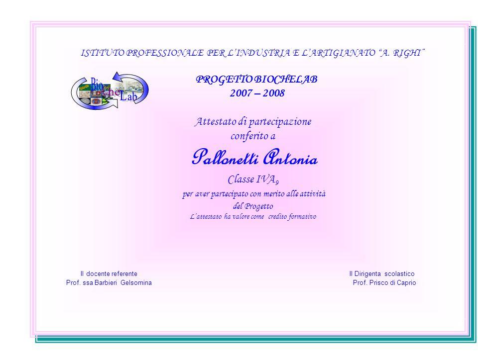 ISTITUTO PROFESSIONALE PER LINDUSTRIA E LARTIGIANATO A. RIGHI PROGETTO BIOCHELAB 2007 – 2008 Attestato di partecipazione conferito a Pallonetti Antoni
