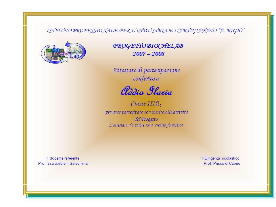 ISTITUTO PROFESSIONALE PER LINDUSTRIA E LARTIGIANATO A. RIGHI PROGETTO BIOCHELAB 2007 – 2008 Attestato di partecipazione conferito a Addio Ilaria Clas