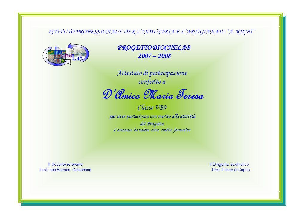 ISTITUTO PROFESSIONALE PER LINDUSTRIA E LARTIGIANATO A. RIGHI PROGETTO BIOCHELAB 2007 – 2008 Attestato di partecipazione conferito a DAmico Maria Tere