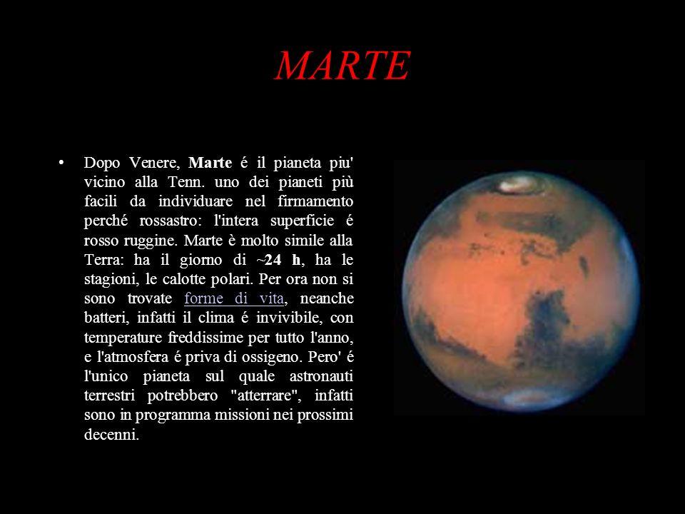 MARTE Dopo Venere, Marte é il pianeta piu' vicino alla Tenn. uno dei pianeti più facili da individuare nel firmamento perché rossastro: l'intera super
