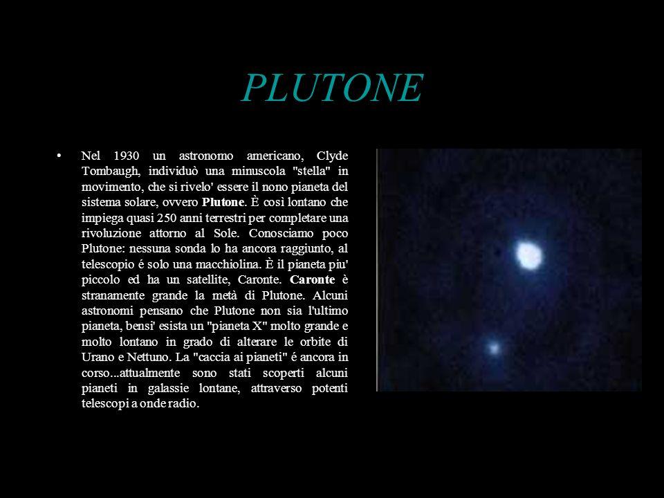 PLUTONE Nel 1930 un astronomo americano, Clyde Tombaugh, individuò una minuscola