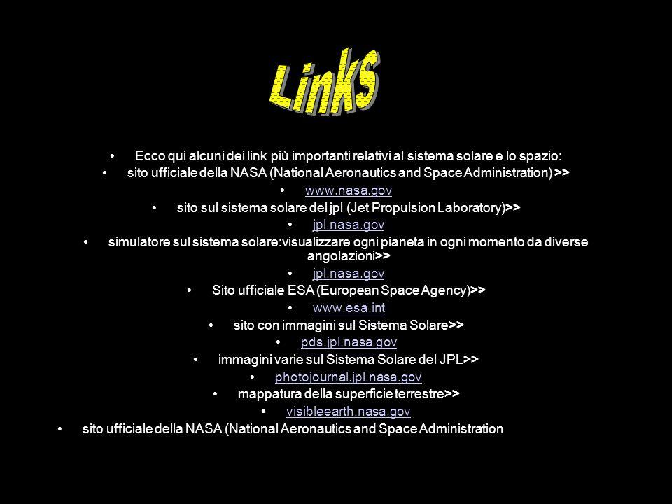 Ecco qui alcuni dei link più importanti relativi al sistema solare e lo spazio: sito ufficiale della NASA (National Aeronautics and Space Administrati