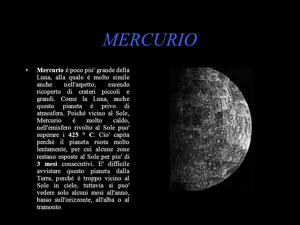 MERCURIO Mercurio é poco piu' grande della Luna, alla quale é molto simile anche nell'aspetto, essendo ricoperto di crateri piccoli e grandi. Come la