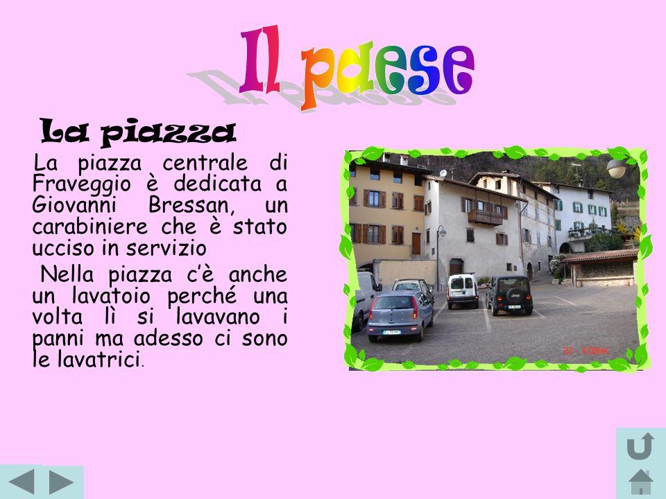 La piazza La piazza centrale di Fraveggio è dedicata a Giovanni Bressan, un carabiniere che è stato ucciso in servizio Nella piazza c è anche un lavat