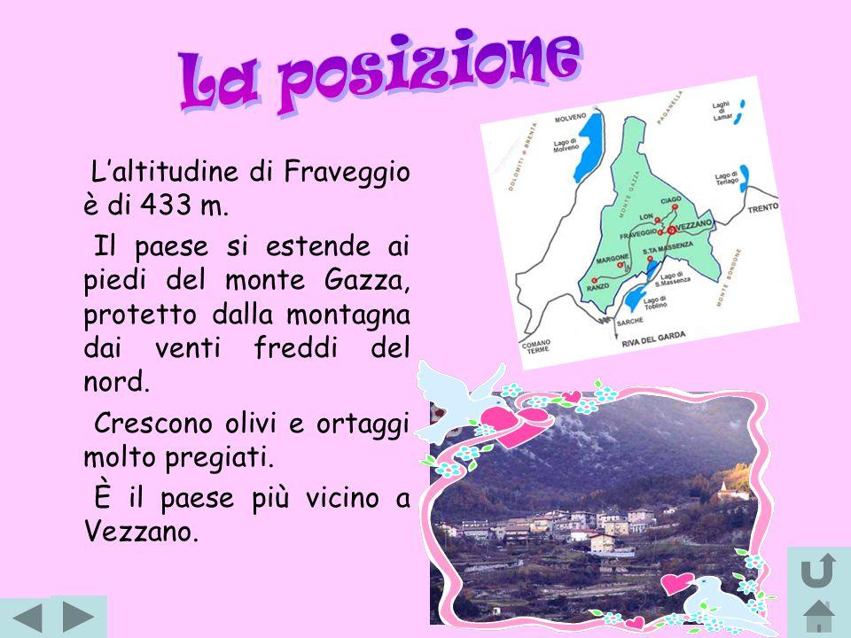 Laltitudine di Fraveggio è di 433 m. Il paese si estende ai piedi del monte Gazza, protetto dalla montagna dai venti freddi del nord. Crescono olivi e