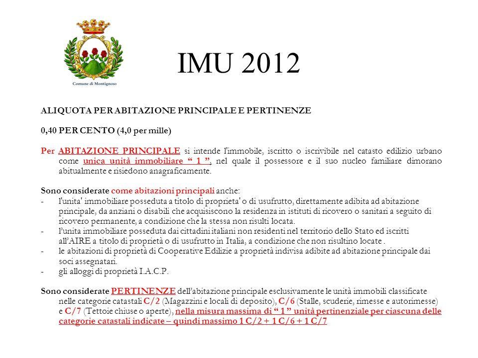 IMU 2012 ALIQUOTA PER ABITAZIONE PRINCIPALE E PERTINENZE 0,40 PER CENTO (4,0 per mille) Per ABITAZIONE PRINCIPALE si intende l'immobile, iscritto o is