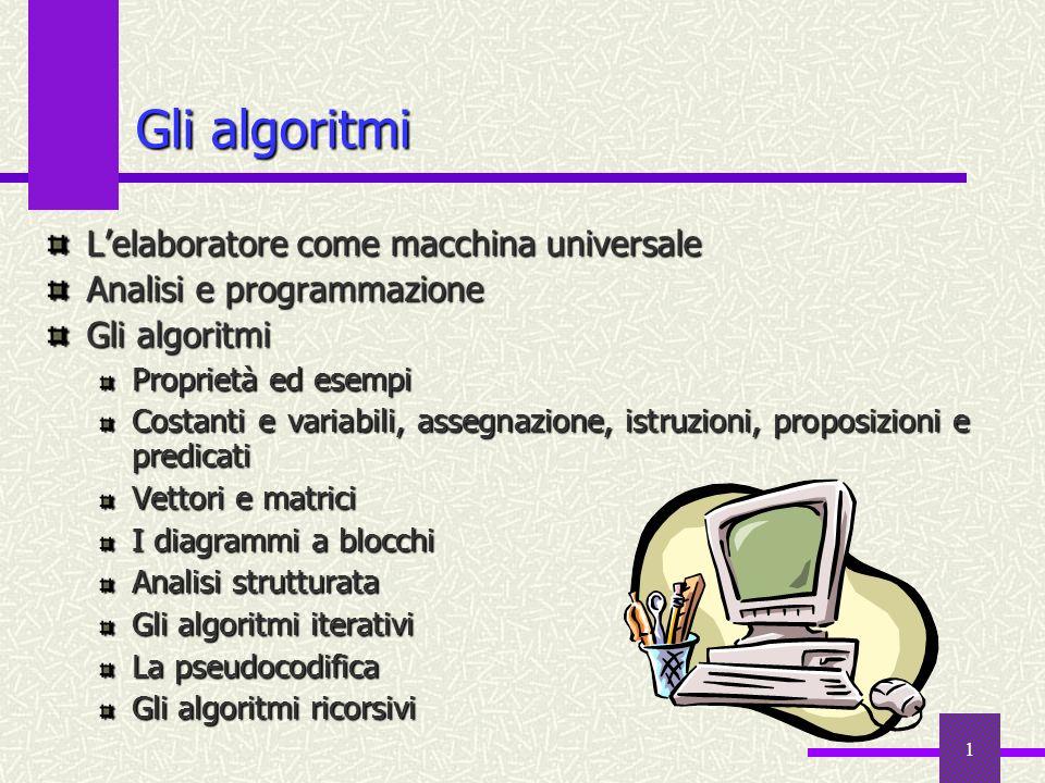 1 Gli algoritmi Lelaboratore come macchina universale Analisi e programmazione Gli algoritmi Proprietà ed esempi Costanti e variabili, assegnazione, i