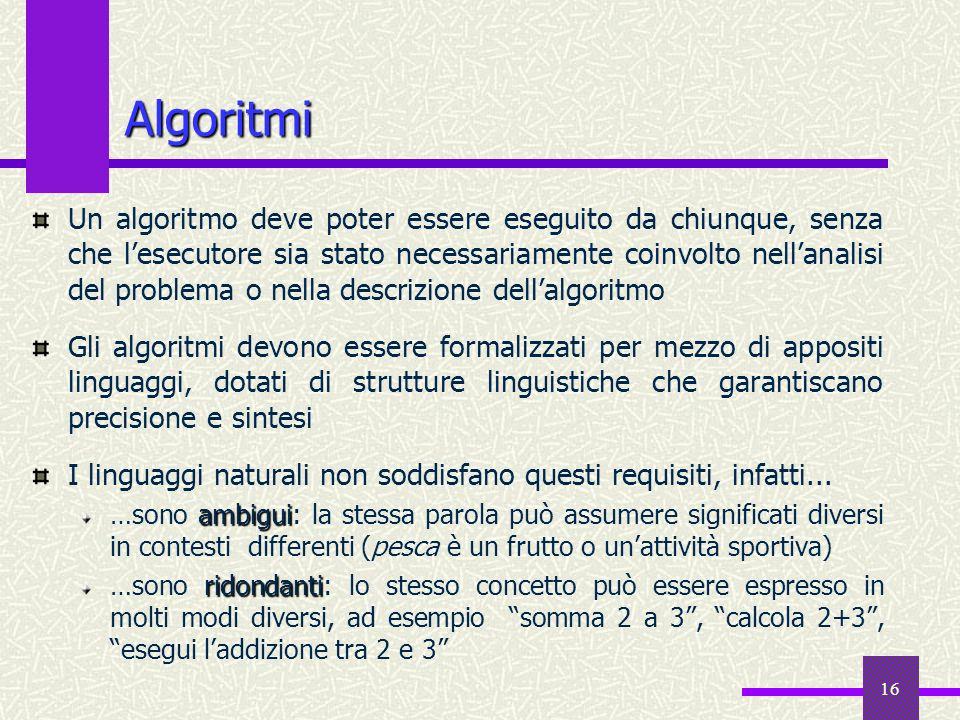 16 Un algoritmo deve poter essere eseguito da chiunque, senza che lesecutore sia stato necessariamente coinvolto nellanalisi del problema o nella desc