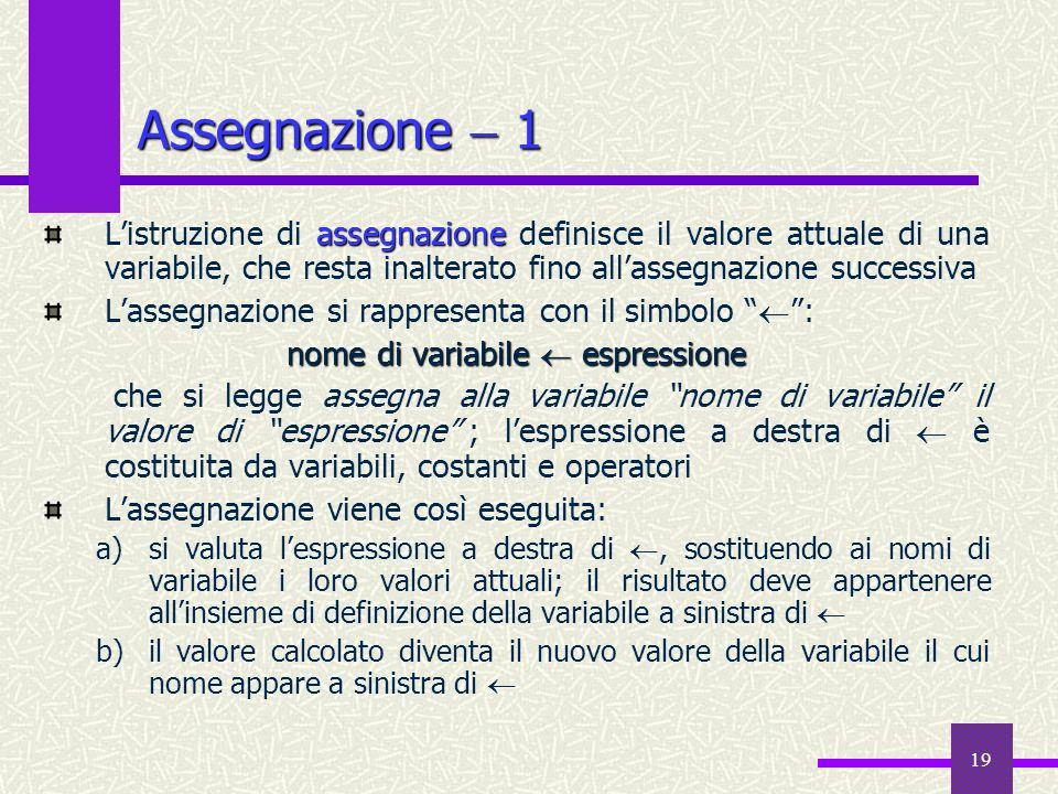 19 Assegnazione 1 assegnazione Listruzione di assegnazione definisce il valore attuale di una variabile, che resta inalterato fino allassegnazione suc
