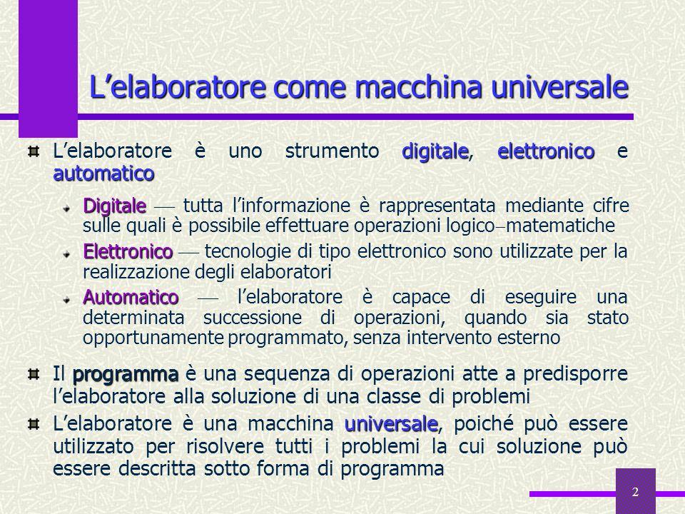 2 Lelaboratore come macchina universale digitaleelettronico automatico Lelaboratore è uno strumento digitale, elettronico e automatico Digitale Digita