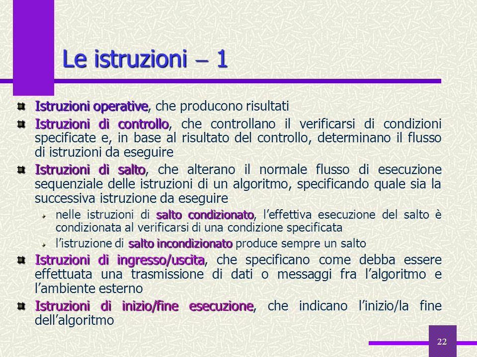 22 Istruzioni operative Istruzioni operative, che producono risultati Istruzioni di controllo Istruzioni di controllo, che controllano il verificarsi