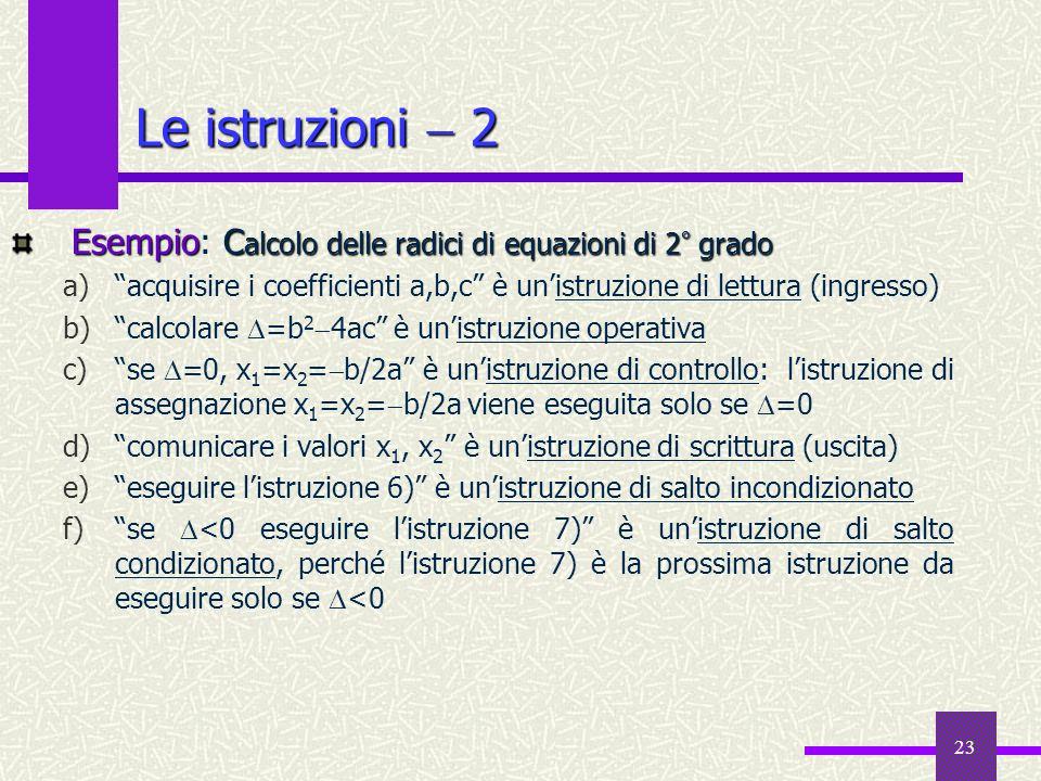 23 Esempio C alcolo delle radici di equazioni di 2 ° grado Esempio: C alcolo delle radici di equazioni di 2 ° grado a)acquisire i coefficienti a,b,c è