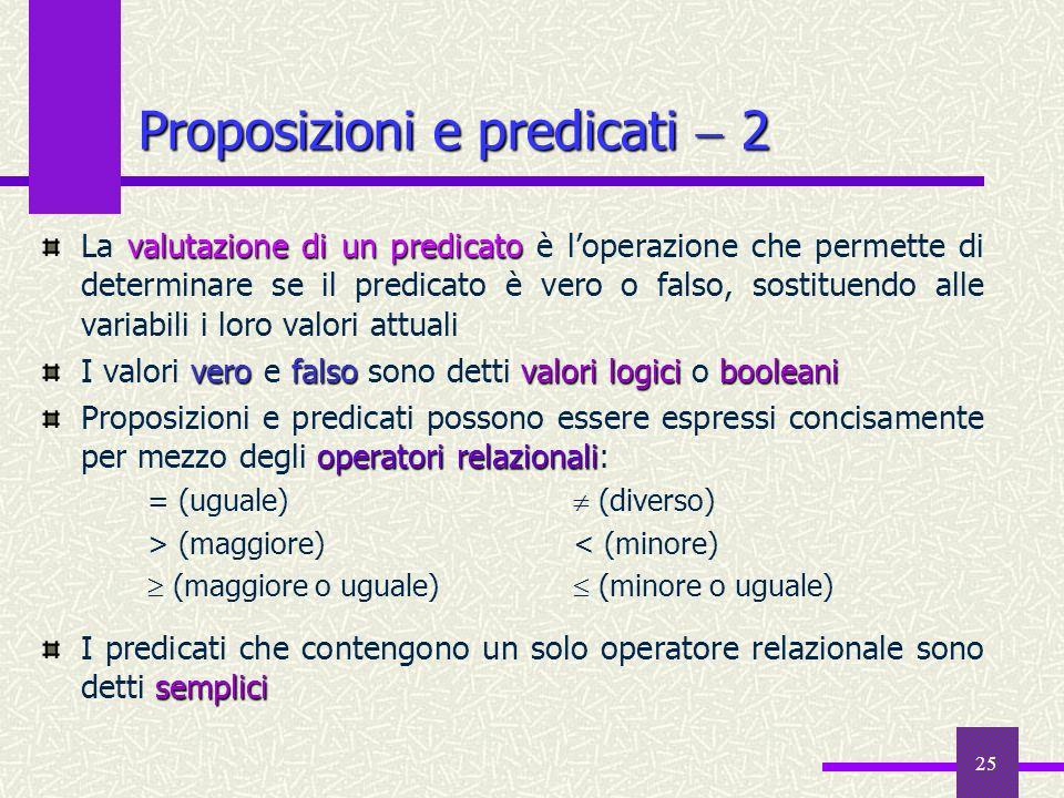 25 valutazione di un predicato La valutazione di un predicato è loperazione che permette di determinare se il predicato è vero o falso, sostituendo al