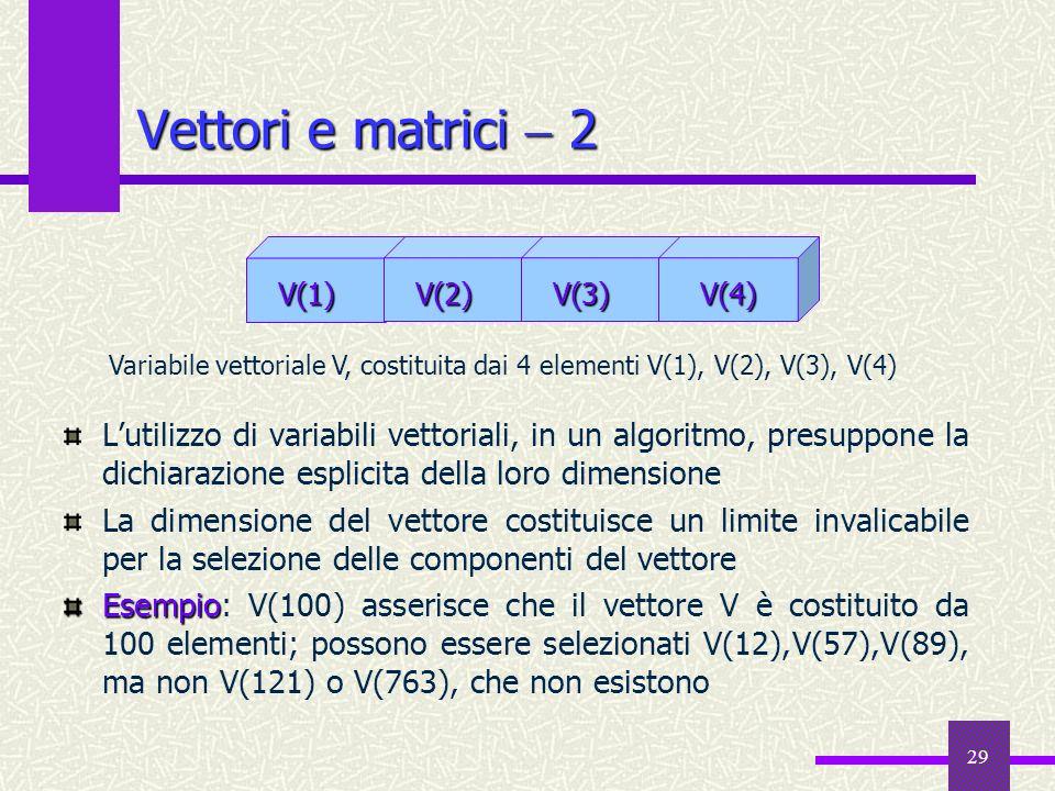 29 Lutilizzo di variabili vettoriali, in un algoritmo, presuppone la dichiarazione esplicita della loro dimensione La dimensione del vettore costituis