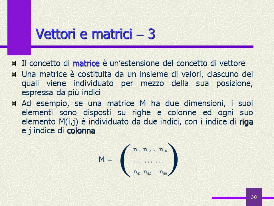 30 matrice Il concetto di matrice è unestensione del concetto di vettore Una matrice è costituita da un insieme di valori, ciascuno dei quali viene in