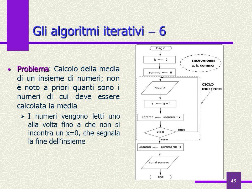 45 Gli algoritmi iterativi 6 Problema Problema: Calcolo della media di un insieme di numeri; non è noto a priori quanti sono i numeri di cui deve esse