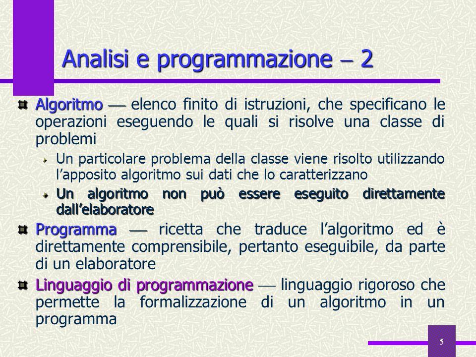 5 Algoritmo Algoritmo elenco finito di istruzioni, che specificano le operazioni eseguendo le quali si risolve una classe di problemi Un particolare p