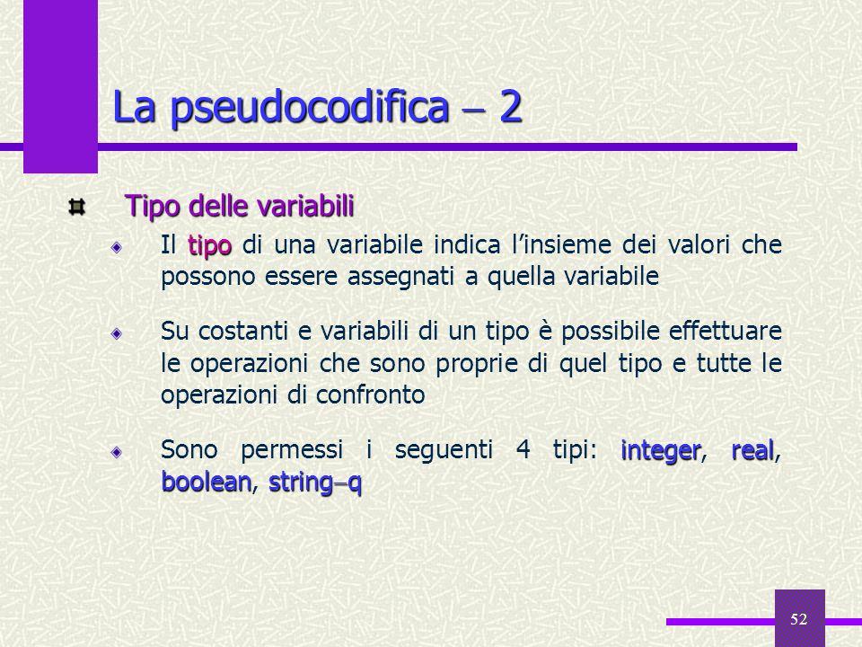52 Tipo delle variabili tipo Il tipo di una variabile indica linsieme dei valori che possono essere assegnati a quella variabile Su costanti e variabi