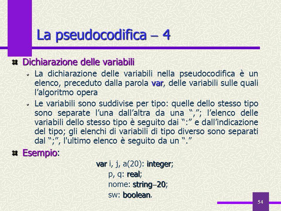 54 Dichiarazione delle variabili var La dichiarazione delle variabili nella pseudocodifica è un elenco, preceduto dalla parola var, delle variabili su