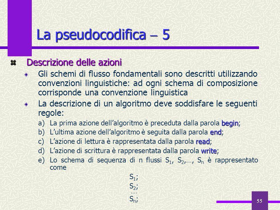 55 Descrizione delle azioni Gli schemi di flusso fondamentali sono descritti utilizzando convenzioni linguistiche: ad ogni schema di composizione corr