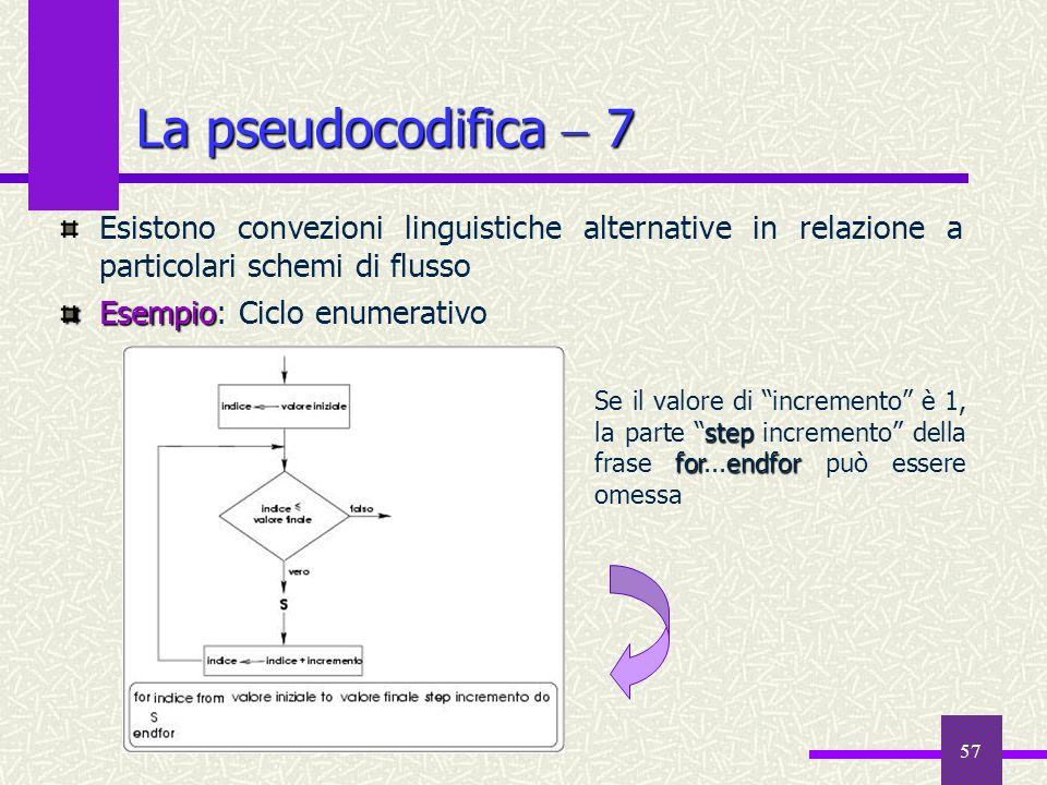 57 Esistono convezioni linguistiche alternative in relazione a particolari schemi di flusso Esempio Esempio: Ciclo enumerativo La pseudocodifica 7 ste