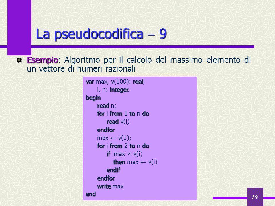 59 Esempio Esempio: Algoritmo per il calcolo del massimo elemento di un vettore di numeri razionali La pseudocodifica 9 varreal var max, v(100): real;