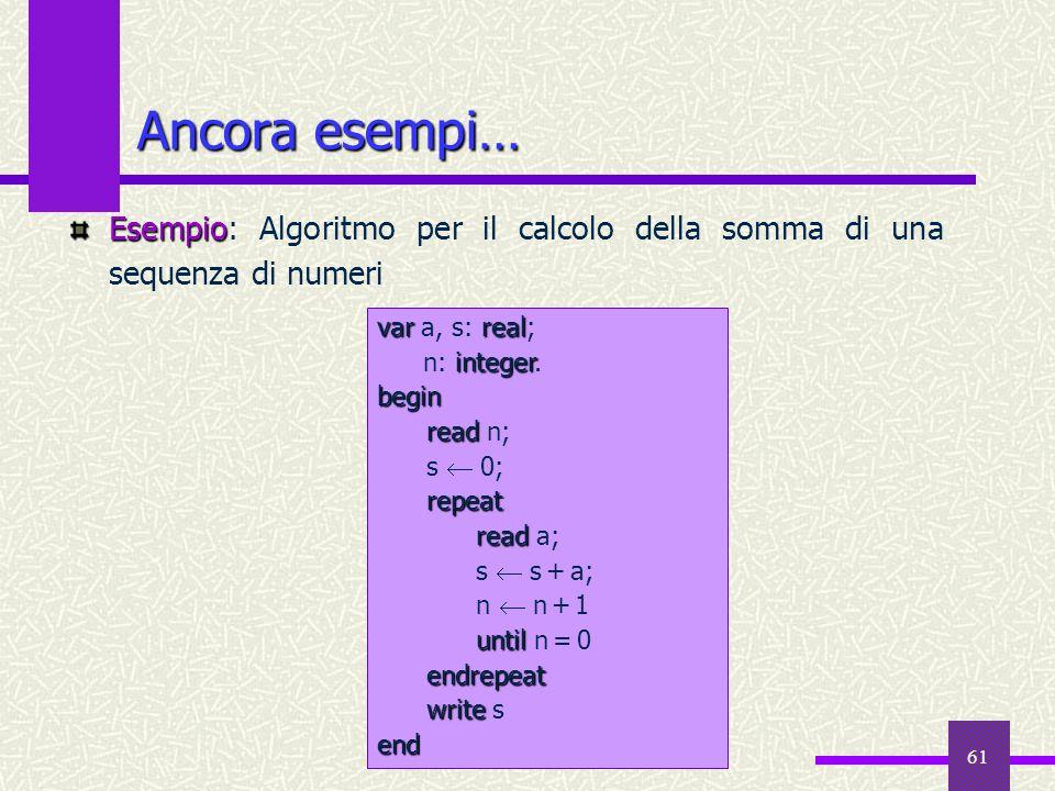 61 Ancora esempi… Esempio Esempio: Algoritmo per il calcolo della somma di una sequenza di numeri varreal var a, s: real; integer n: integer.begin rea