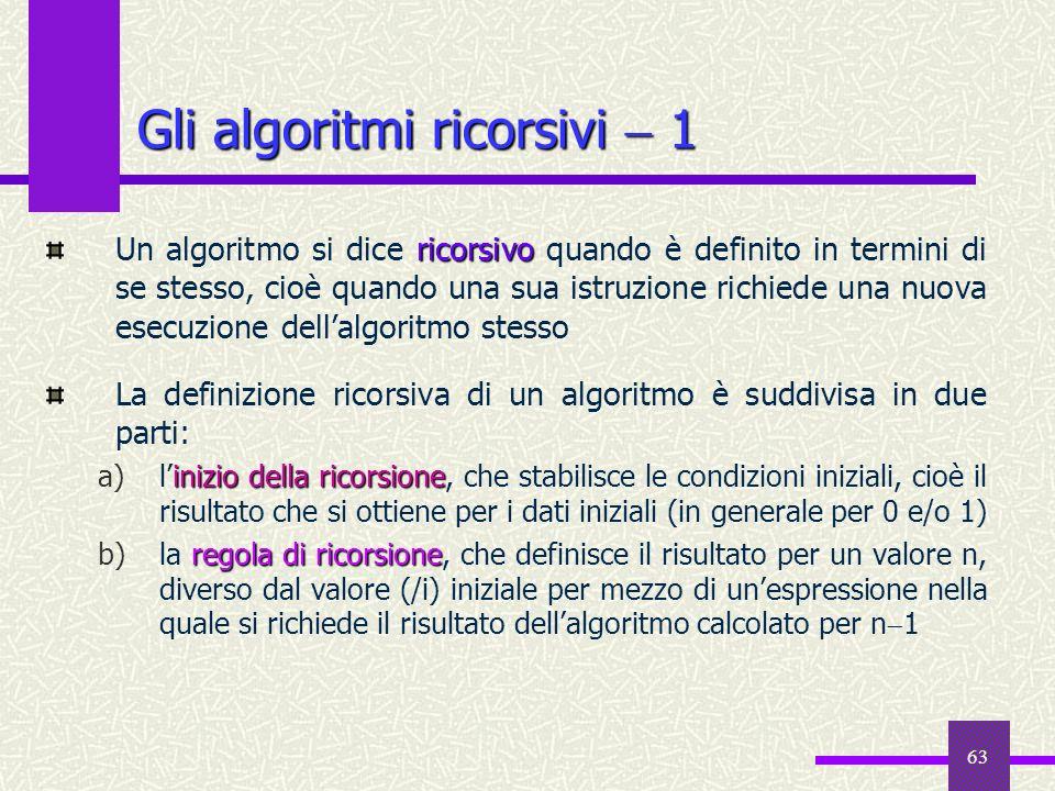 63 ricorsivo Un algoritmo si dice ricorsivo quando è definito in termini di se stesso, cioè quando una sua istruzione richiede una nuova esecuzione de