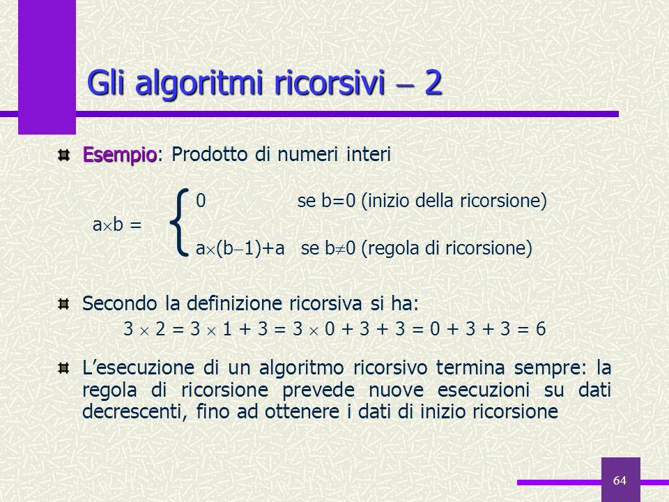 64 Esempio Esempio: Prodotto di numeri interi Secondo la definizione ricorsiva si ha: 3 2 = 3 1 + 3 = 3 0 + 3 + 3 = 0 + 3 + 3 = 6 Lesecuzione di un al