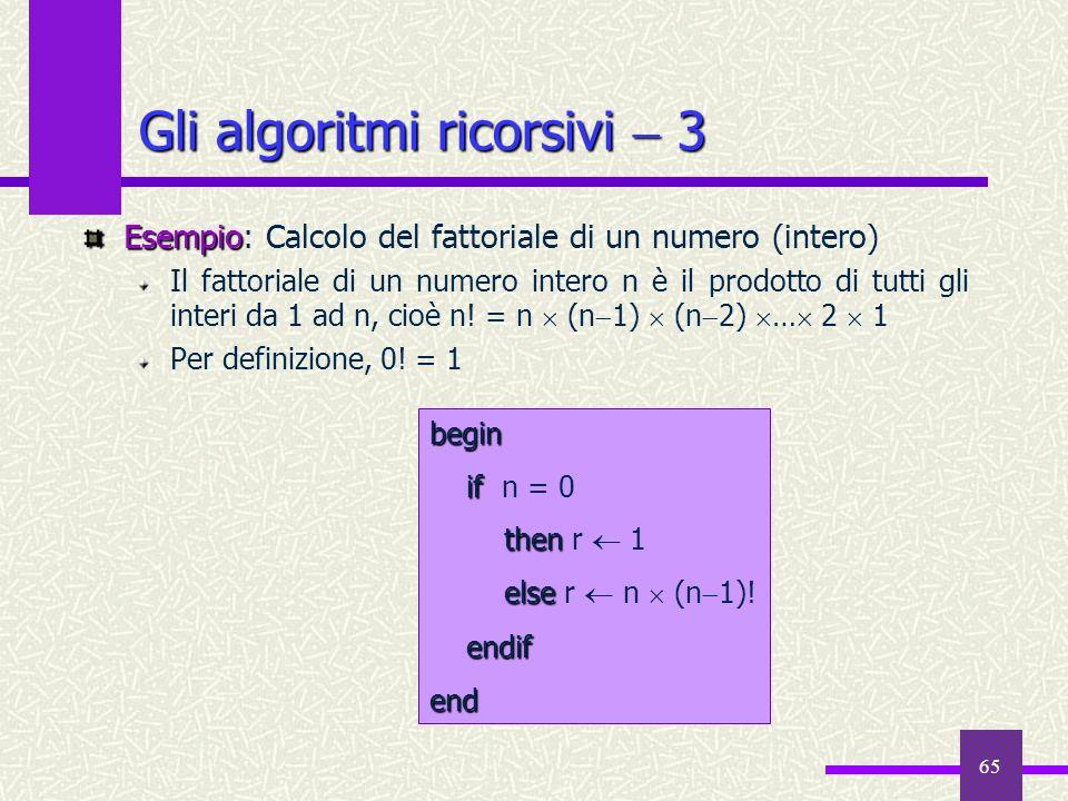 65 Esempio Esempio: Calcolo del fattoriale di un numero (intero) Il fattoriale di un numero intero n è il prodotto di tutti gli interi da 1 ad n, cioè