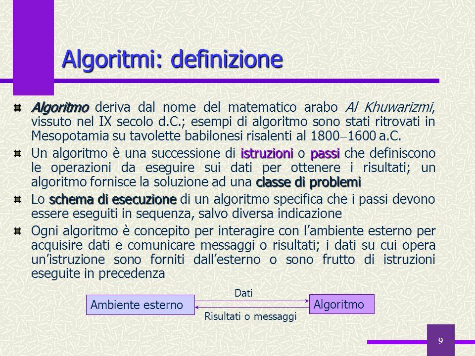 9 Algoritmi: definizione Algoritmo Algoritmo deriva dal nome del matematico arabo Al Khuwarizmi, vissuto nel IX secolo d.C.; esempi di algoritmo sono