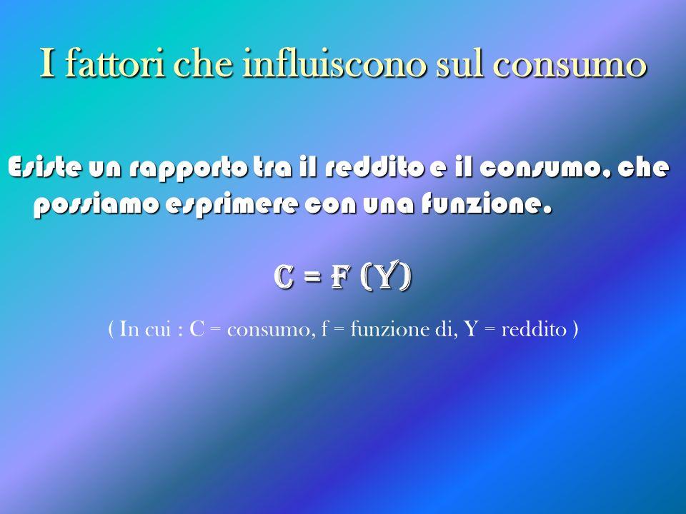 I fattori che influiscono sul consumo Esiste un rapporto tra il reddito e il consumo, che possiamo esprimere con una funzione. C = F (Y) ( In cui : C