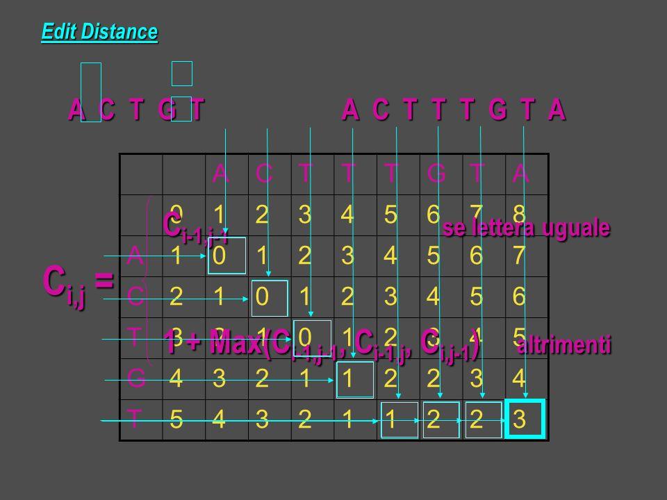 Edit Distance A C T G T A C T T T G T A A C T T T G T A ACTTTGTA 012345678 A101234567 C210123456 T321012345 G432112234 T543211223 C i-1,j-1 se lettera uguale C i-1,j-1 se lettera uguale C i,j = 1 + Max(C i-1,j-1, C i-1,j, C i,j-1 ) altrimenti 1 + Max(C i-1,j-1, C i-1,j, C i,j-1 ) altrimenti