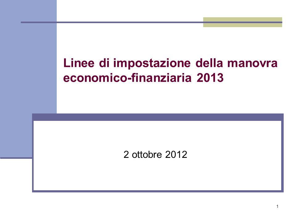 1 Linee di impostazione della manovra economico-finanziaria 2013 2 ottobre 2012
