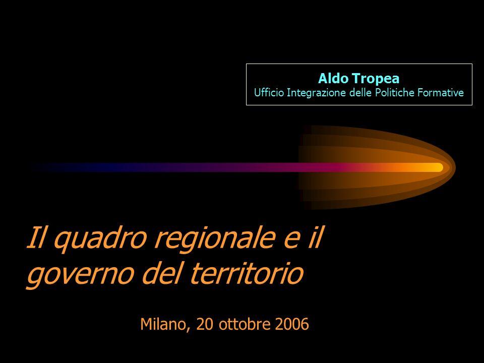Il quadro regionale e il governo del territorio Milano, 20 ottobre 2006 Aldo Tropea Ufficio Integrazione delle Politiche Formative