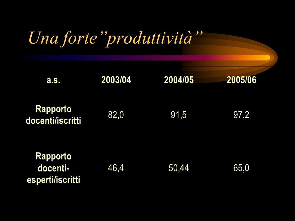 Una forteproduttività a.s.2003/042004/052005/06 Rapporto docenti/iscritti 82,091,597,2 Rapporto docenti- esperti/iscritti 46,450,4465,0
