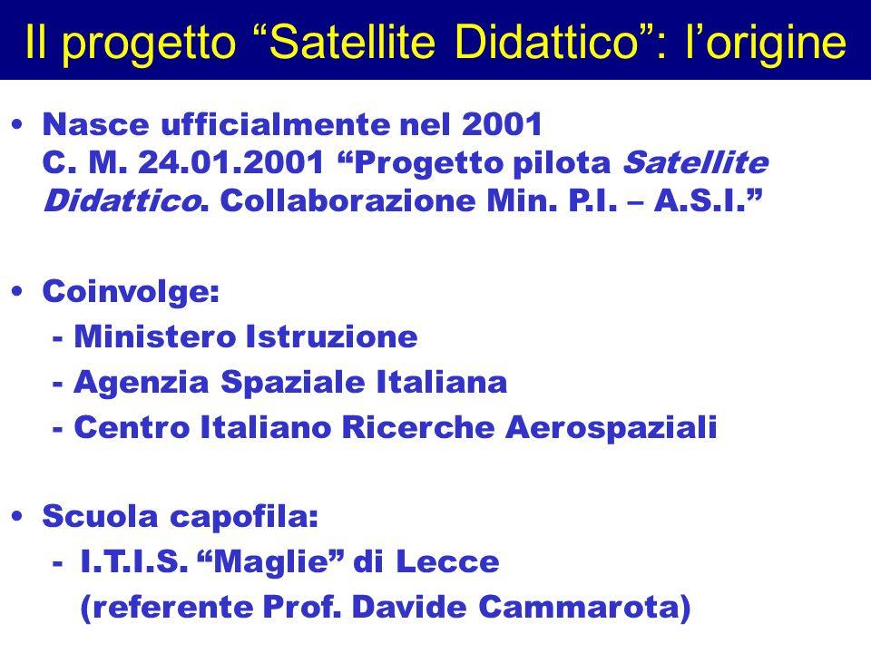 Il progetto Satellite Didattico: lorigine Nasce ufficialmente nel 2001 C. M. 24.01.2001 Progetto pilota Satellite Didattico. Collaborazione Min. P.I.