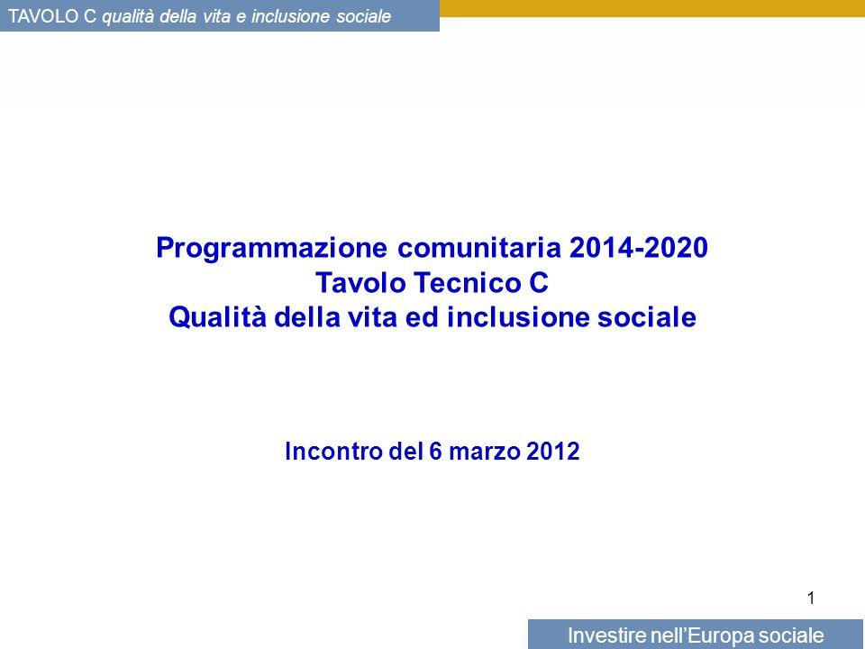 Investire nellEuropa sociale TAVOLO C qualità della vita e inclusione sociale Programmazione comunitaria 2014-2020 Tavolo Tecnico C Qualità della vita ed inclusione sociale Incontro del 6 marzo 2012 1