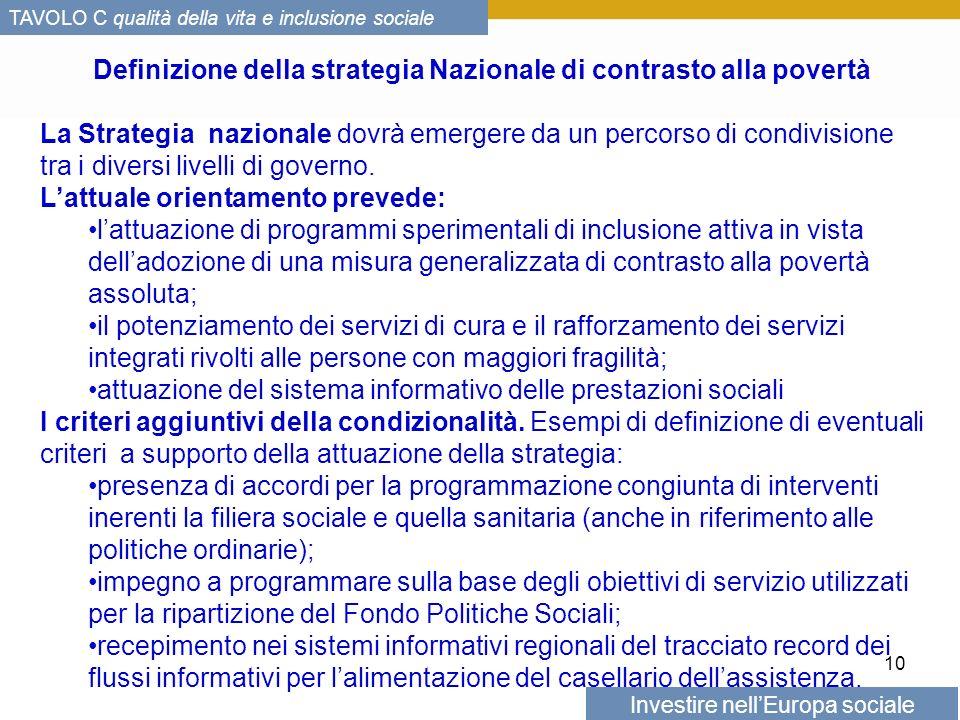 Investire nellEuropa sociale TAVOLO C qualità della vita e inclusione sociale Definizione della strategia Nazionale di contrasto alla povertà La Strategia nazionale dovrà emergere da un percorso di condivisione tra i diversi livelli di governo.