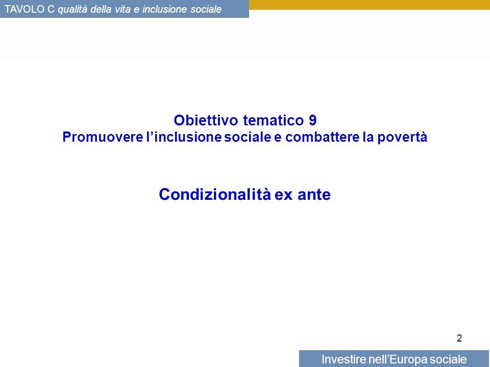 Investire nellEuropa sociale TAVOLO C qualità della vita e inclusione sociale Obiettivo tematico 9 Promuovere linclusione sociale e combattere la povertà Condizionalità ex ante 2